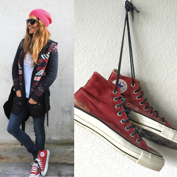ae1743cf8310a0 Converse Shoes -  Converse All Star  Red Leather Vintage High Tops